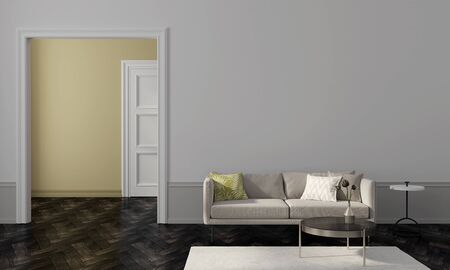 Living room with beige sofa, golden table and overlooking the yellow wall of another room  3D illustration, 3d render