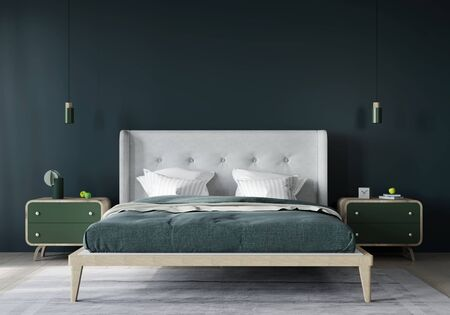 Stylish bedroom interior with a harmonious combination of dark green and light beige / 3D illustration, 3d render