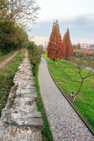 long depression: Jingzhou, ancient city wall Stock Photo