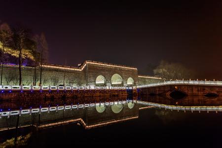 moat wall: Jingzhou, ancient city wall, night scene