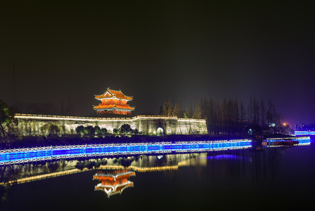 city scene: Jingzhou, ancient city wall, night scene
