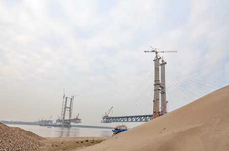 yangtze: Sunny days in Yangtze River bridge construction site image