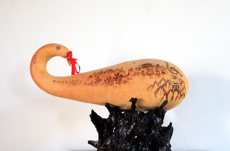 intangible: A landscape painting of the gourd pyrography Editorial