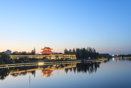 moat wall: The ancient city of the scenery Stock Photo
