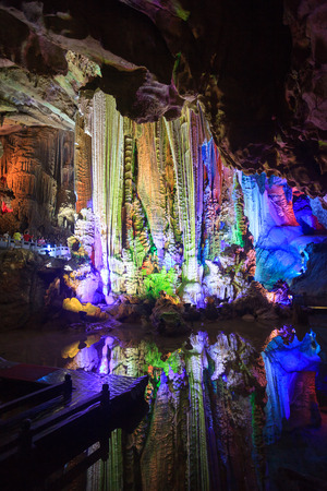 groundwater: The underground cave stalactites of bright and colorful