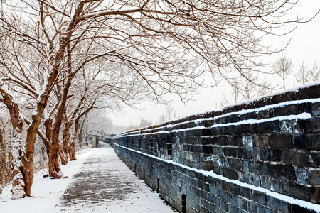 The winter snow is very beautiful at ancient city wall