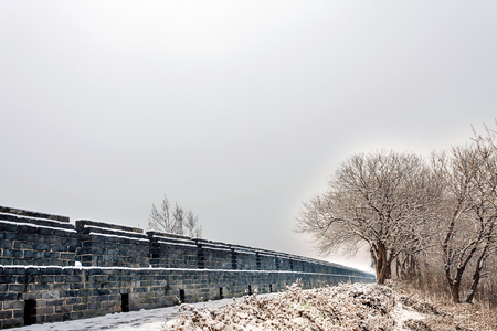 gleams: The winter snow is very beautiful ancient city wall