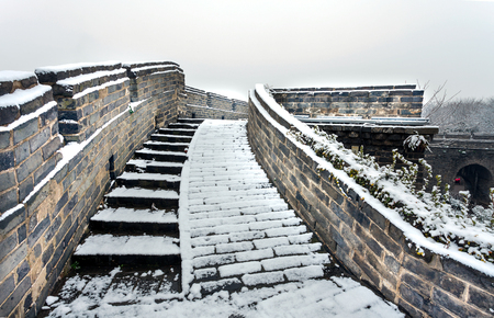 The ancient city wall of winter snow is so beautiful