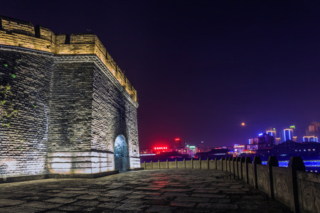 moat wall: The moat and wall is very beautiful at night Editorial