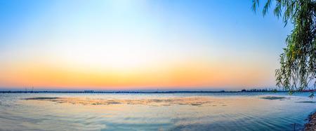 sunset lake: lake view during sunset