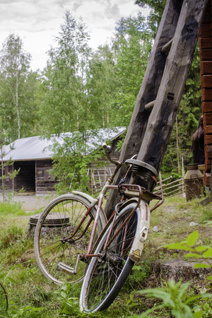 peddle: An old bicycle resting at the Weteraanikonepäivät machinery festival in Finland