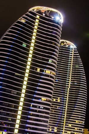 quite time: The lights of the hotel twin towers are quite impressive at night time.