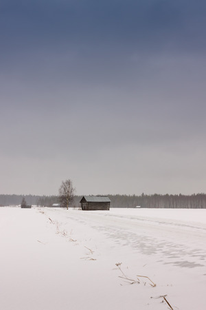 emphasized: The spring is coming and the snow is slowly melting away. The sadness of the lonely barn houses is emphasized by the harshness of the waking nature. Stock Photo