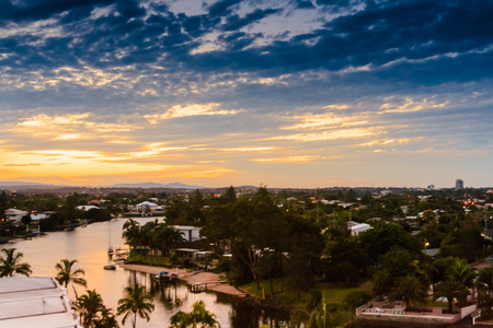 gold coast: Another beautiful sunset at the city of Gold Coast, Queensland, Australia.