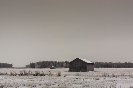 barns winter: Two old barn houses on the frosty fields of the Northern Finland.