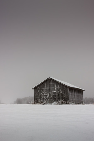 old barn in winter: The very cold weather freezes even the wooden walls of the old barn house in the Northern Finland.