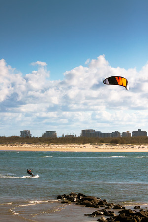 wind surfing: The beaches of Caloundra, Queensland, Australia are perfect places for wind surfing. Stock Photo