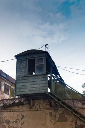prison guard: A guard tower in the Patarei prison area in Tallinn, Estonia. The prison was still in use in 2002 although it was originally built in 1840.