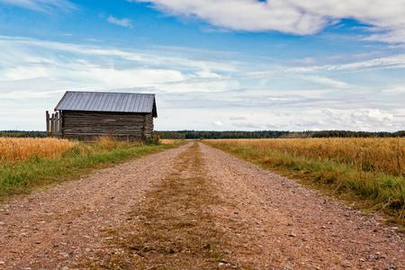 古い納屋ハウスは、農村のフィンランドのフィールドを介してリード砂利道で立っています。 写真素材