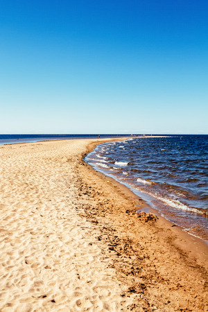The beach at Kalajoki, Finland is famous for these long sandbanks and shallow waters. The place is crowded on summer days like this.