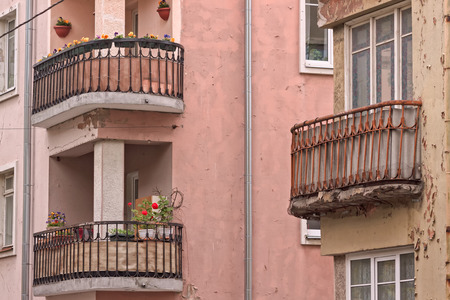 Old iron balconies at Tallinn, Estonia. Many of the buildings have been renovated, but these balconies seem to need a little more work.