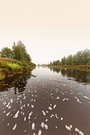 The river flows slowly on a misty autumn morning in the rural Finland. There is some kind of foam on the water surface. Imagens