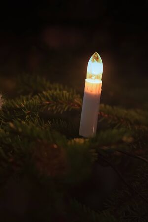 A little candle in the Christmas tree in Finland. In Finland, it is typical to get a real pine tree as Christmas tree. Real candles are not used any more.