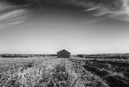 An old barn house stands a little tilted on the autumn fields of rural Finland. The harvest time is almost over. Stock Photo