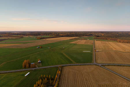 The country roads cross the autumn fields at the Northern Finland. The fields are glowing in the autumn colors.