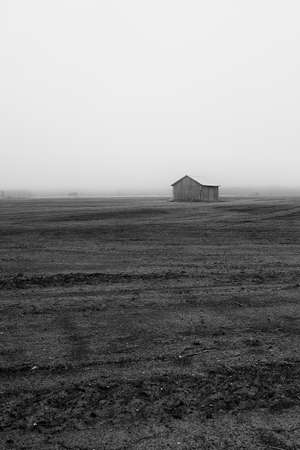 A lonely barn house is standing on the autumn fields of the Northern Finland. The morning mist is rising from the fields and is slowly covering the barn houses.