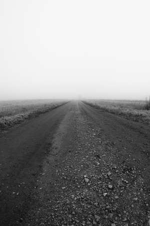 A gravel road leads to the mist over the fields at the rural Finland. The autumn mornings are very misty in the Northern part of the country.