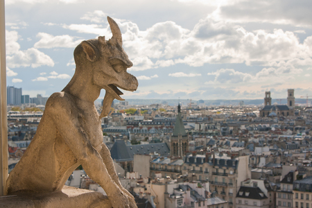 gargouille: Gargoyle on Notre Dame Cathedral and city of Paris close up, France Banque d'images