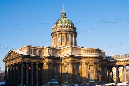 sobor: view to Kazan sobor in winter evening. Russia, St. Petersburg