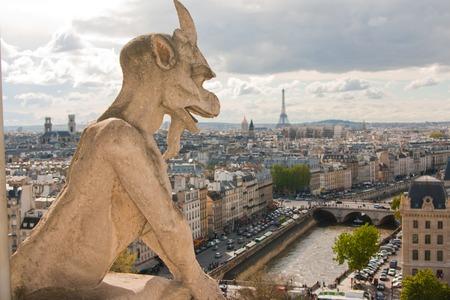 gargouille: Gargouille sur la cath�drale Notre-Dame et la ville de Paris pr�s, France