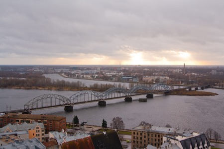 The panoramic view of Riga, Latvia from St. Peters Church