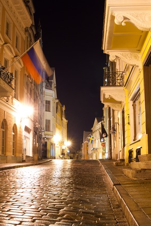 night views of Tallinn on New Years Eve, Estonia Stock Photo