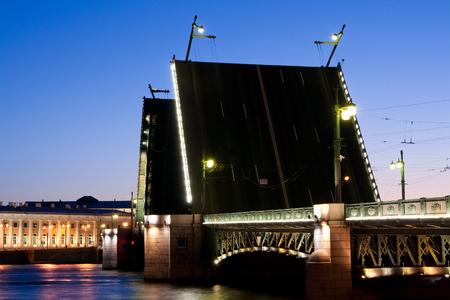 Divorced Palace Bridge during the White Nights wiev on Kuntskamera , St. Petersburg, Russia. July 3, 2010