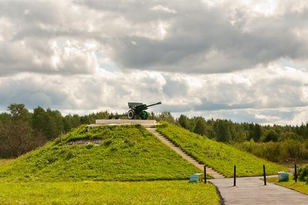 nazis: Kirishi, Leningrad region of Russia, the war memorial, gun ZIS-3