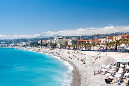 d'azur: Palm trees in Nice. Cote dAzur. Mediterranean resort. France.