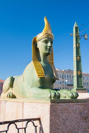 obelisk stone: Sphinx of Egyptian bridge over the Fontanka river, Saint Petersburg, Russia