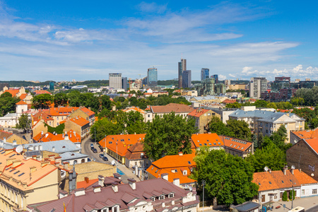 viewport: Scenic summer view of Old Town from The Bell Tower of Cathedral Basilica Of St. Stanislaus And St. Vladislav. Vilnius