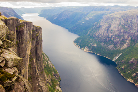 Aerial view of Lysefjorden from the mountain Kjerag, in Forsand municipality in Rogaland county, Norway.