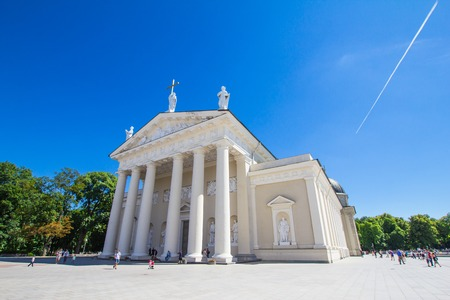 sainthood: Vilnius, Lithuania. Cathedral Basilica Of St. Stanislaus And St. Vladislav With The Bell Tower In Summer Sunny Day. Roman Catholic Cathedral At The Cathedral Square.