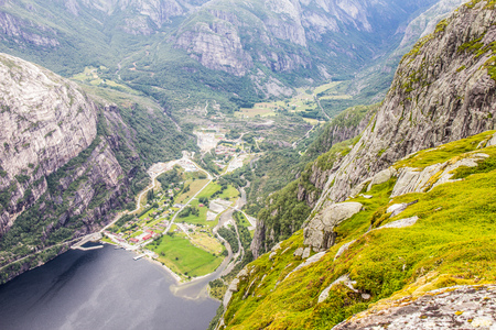 eagle canyon: Aerial View of Lysefjord and Lysebotn from the mountain Kjerag, in Forsand municipality in Rogaland county, Norway.