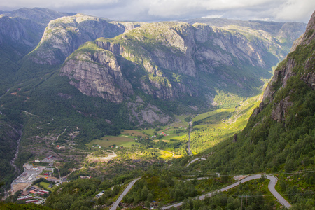 Aerial View of Lysefjord and Lysebotn from the mountain Kjerag, in Forsand municipality in Rogaland county, Norway.