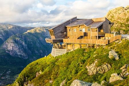 eagle canyon: beautiful view on Kjerag Panoramic Restaurant, Lysefjorden fjord. Forsand, Rogaland, Norway
