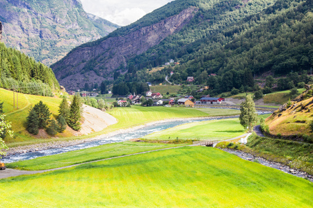 beautifull view by the Flam to Myrdal Railway Line Norway Stock Photo