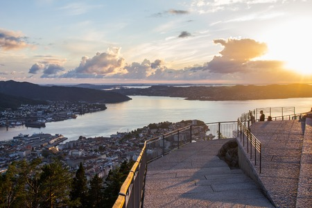 White Night of Bergen from view point Floyen, panoramic view, Bergen, Norway at sunset.
