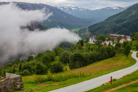 The beautiful view on Naeroydalen valley and peaks on Stalheim, Voss, Norway. Stock Photo