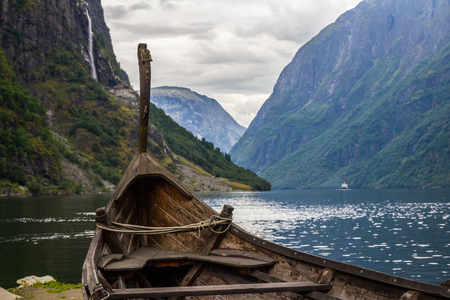 Beautifull view of Viking drakkar at the end of the Sognefjord between Flam and Gudvangen in Norway.